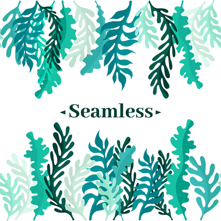 Illustration pour Seamless border of leaves and greens. Leaves of the forest or seaweed. - image libre de droit