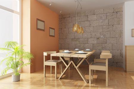 3d render interior of a modern dining room