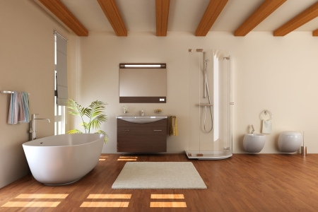 modern bathroom with bathtub and toilet.3d render