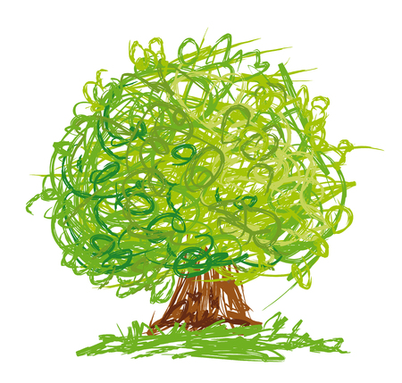 Illustration pour Vector tree with round crown drawn in quick sketchy style. - image libre de droit