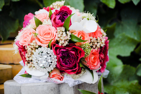 Photo for Wedding pink roses bouquet closeup outdoors alone - Royalty Free Image