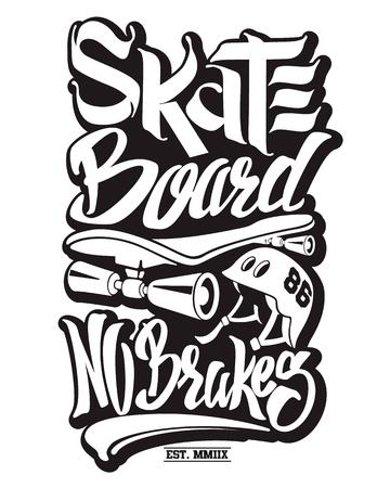 Ilustración de Skate board typography, t-shirt graphics, vectors. - Imagen libre de derechos