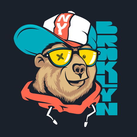 Illustration pour Bear in cap vector print design for t-shirt. - image libre de droit