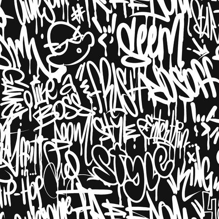 Ilustración de Vector graffiti tags seamless pattern, print design - Imagen libre de derechos