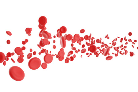 Foto de 3d illustration of red blood cells isolated on white background - Imagen libre de derechos