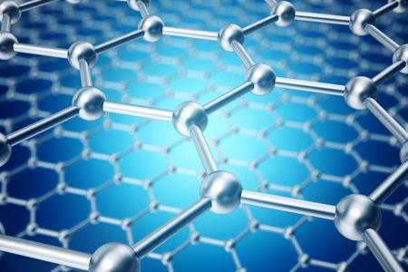 Photo pour 3d rendering abstract nanotechnology hexagonal geometric form close-up, concept graphene atomic structure, concept graphene molecular structure. - image libre de droit