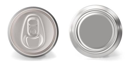 Foto de Set of aluminum cans close-up, on white background, 3d rendering - Imagen libre de derechos