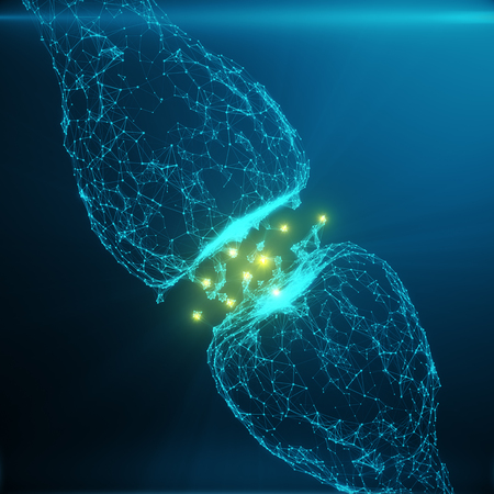 Foto de Blue glowing synapse. Artificial neuron in concept of artificial intelligence. Synaptic transmission lines of pulses.Abstract polygonal space low poly with connecting dots and lines. 3D rendering - Imagen libre de derechos