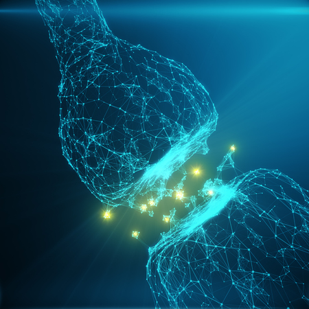 Foto de Blue glowing synapse. Artificial neuron in concept of artificial intelligence. Synaptic transmission lines of pulses.Abstract polygonal space low poly with connecting dots and lines, 3D rendering - Imagen libre de derechos