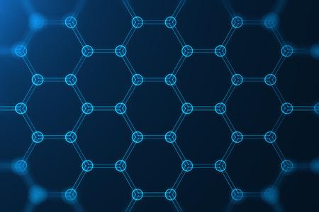 Foto de 3d rendering abstract nanotechnology hexagonal geometric form close-up, concept graphene atomic structure, concept graphene molecular structure. - Imagen libre de derechos