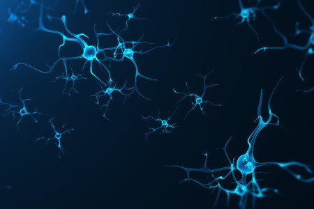 Foto de Conceptual illustration of neuron cells with glowing link knots. Synapse and Neuron cells sending electrical chemical signals. Neuron of Interconnected neurons with electrical pulses, 3D rendering - Imagen libre de derechos