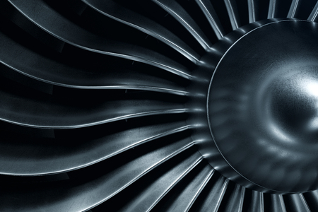 Photo for 3D Rendering jet engine, close-up view jet engine blades. Blue tint. - Royalty Free Image