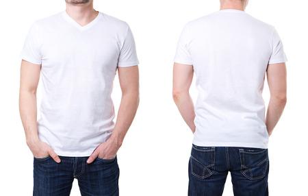 Foto de White t shirt on a young man template on white background - Imagen libre de derechos