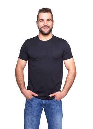 Photo pour Young handsome man in a black t-shirt on white background - image libre de droit