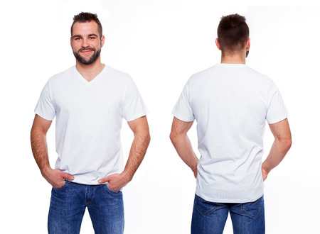 Foto de White t shirt on a young man template on white background - Imagen libre de derechos