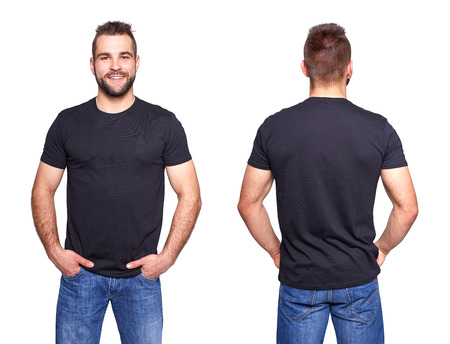 Foto de Black t shirt on a young man template on white background - Imagen libre de derechos