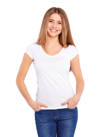 Foto de Happy young woman on a white background - Imagen libre de derechos