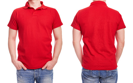 Photo for Young man with red polo shirt on a white background - Royalty Free Image