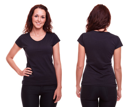 Foto de Young woman in black shirt on white background - Imagen libre de derechos