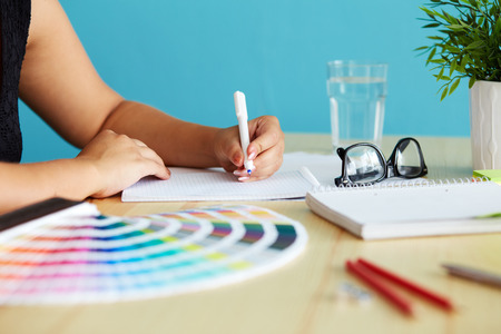 Photo for Graphic designer at sketching the design - Royalty Free Image