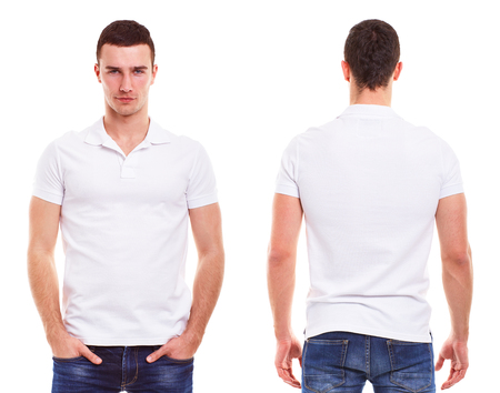 Photo for Young man with polo shirt on a white background - Royalty Free Image