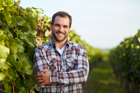 Foto de Young winemaker in vineyard with arms crossed - Imagen libre de derechos