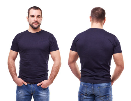 Foto de Handsome man in black t-shirt on white background - Imagen libre de derechos