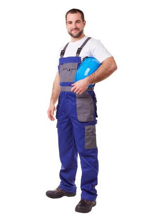 Photo pour Male construction worker with blue helmet and uniform - image libre de droit