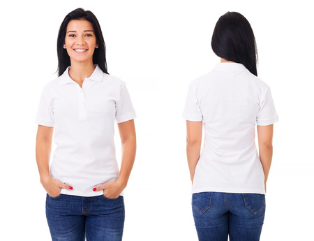 Photo for Young woman in white polo shirt on white background - Royalty Free Image