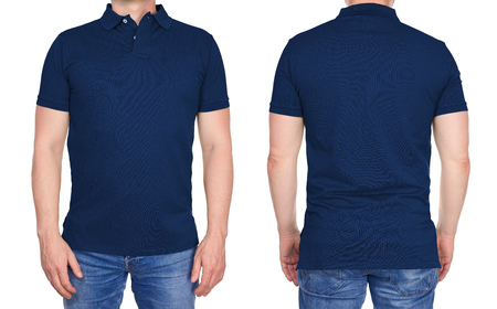 Photo for T-shirt design - young man in blank dark blue polo shirt from front and rear isolated - Royalty Free Image