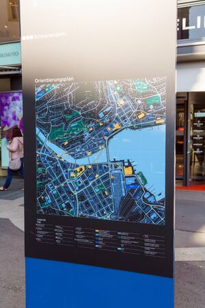 Foto de Lucerne, Switzerland - October 19, 2017: The system of stands with maps of the old city for the orientation of tourists - Imagen libre de derechos
