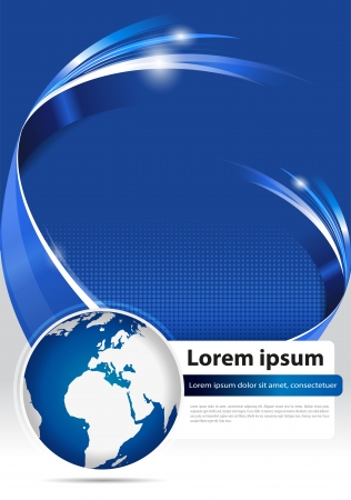 Foto de Abstract modern blue background for brochure, flyer, poster or cover with 3D stripe and globe for company - Imagen libre de derechos