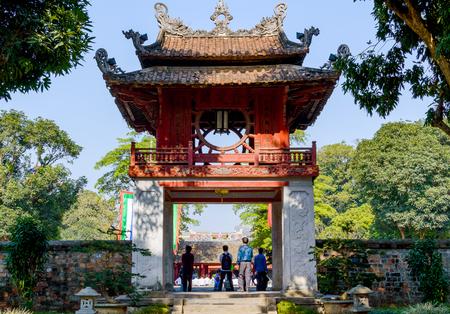 Photo pour The Temple of Literature Van Mieu in Hanoi, Vietnam and chinese pagoda. - image libre de droit