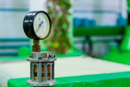 Foto de Manometer or pressure gauge at industrial factory. - Imagen libre de derechos
