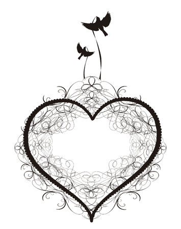 Ilustración de Vector image of Antique ornament Vectors of a heart with birds - Imagen libre de derechos