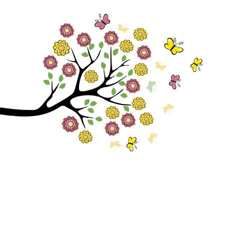 Ilustración de Vector image of butterflies and flowers - Imagen libre de derechos