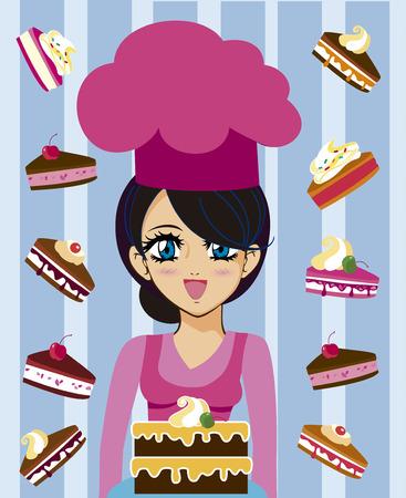 Ilustración de Manga girl - Imagen libre de derechos