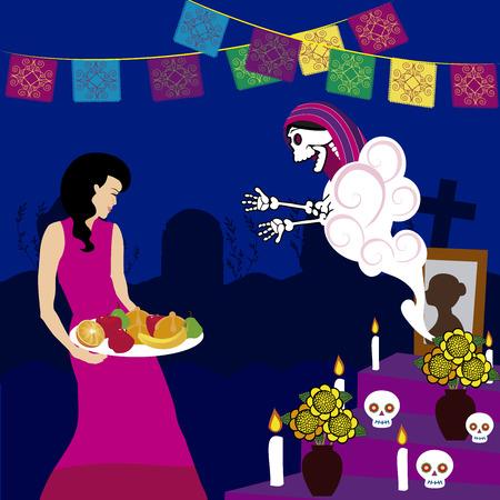 Ilustración de Vector image of day of the dead dead altar illustration. - Imagen libre de derechos