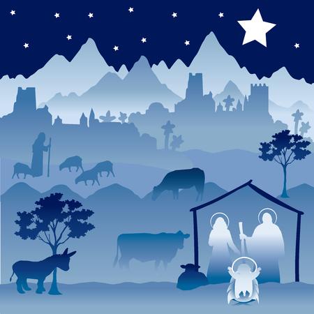 Ilustración de Christmas Nativity version 1 - Imagen libre de derechos