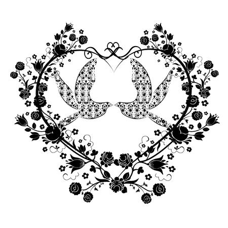 Ilustración de doves with flourishes and heart - Imagen libre de derechos