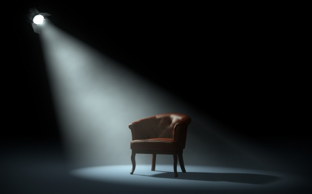 Photo for chair on stage under spotlight - Royalty Free Image