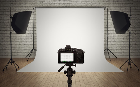 Photo for Photo studio light setup with digital camera - Royalty Free Image
