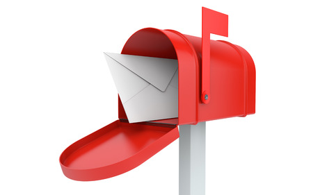 Foto de Incoming mail. mailbox with letter isolated on white with clipping path - Imagen libre de derechos