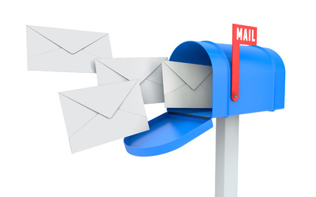 Foto de Incoming mail. blue mailbox with letters isolated on white with clipping path - Imagen libre de derechos