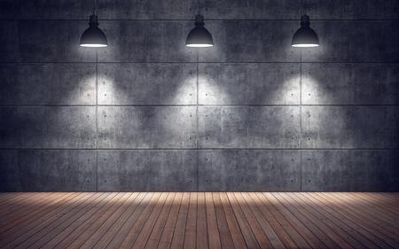 Foto de Empty room with lamps. wooden floor and concrete tiles wall background - Imagen libre de derechos