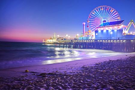 Photo for Santa Monica Beach at Night - Royalty Free Image