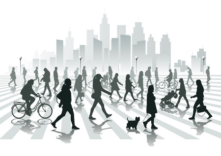 Illustration pour Walking people in city - image libre de droit