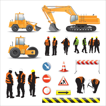 Photo pour Set of road under construction  Machines, workers, signs and banners - image libre de droit
