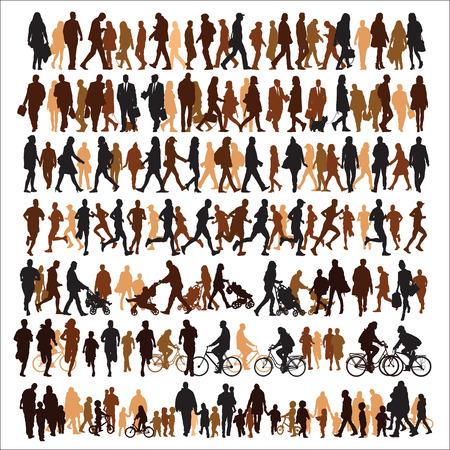 Illustrazione per Collection of people silhouettes - Immagini Royalty Free