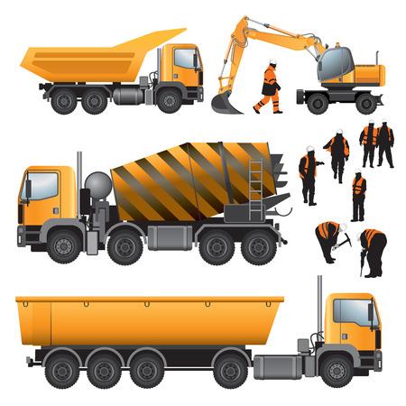 Illustration pour Construction machines and workers  Concrete mixer, excavator and trucks  Vector illustration  - image libre de droit
